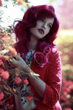 Blood  No mind to my sister, please, she's a little dramatic. / I blinked at her brilliant pink hair and a smile turned the corners of her ruby red lips  ||  Sultry Crimson Captures - The Lost in Paradise Design Scene Editorial is Rose-Hued and Ravishing (GALLERY)