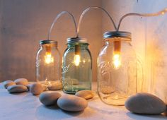 These are awesome! Mason Jar Lights  3's Company  Glass Banner Style  by BootsNGus, $85.00