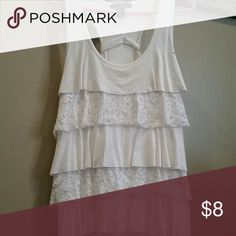 Cute white ruffled tank T-shirt tank rain Tops Tank Tops