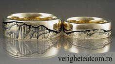 Men Wedding Rings mountain rings - Unique wedding bands, Exquisite and unusual wedding ring sets for men and women. Custom diamond rings, sapphire, woodgrain rings and more! Ranked A by BBB Unusual Wedding Rings, Wedding Rings Online, Unique Rings, Traditional Wedding Rings, Traditional Engagement Rings, Titanium Wedding Rings, Wedding Ring Designs, Mountain Rings, Gadgets