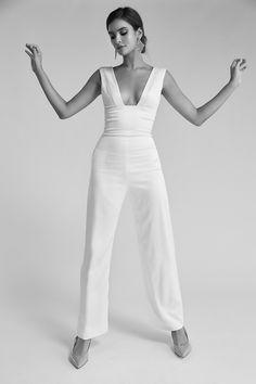 Satin Jumpsuit, Wedding Jumpsuit, Sarah Seven Wedding Dresses, Wedding Dress Necklines, Couture Dresses, Plunging Neckline, Body, Designer Dresses, Marie