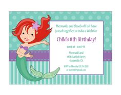 Little Mermaid Printable Party KiT 11pc Instant por eloycedesigns