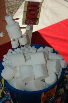 Make your own marsh mellow robots and robot punch box in place of pinata