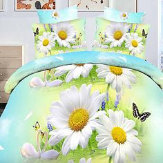 Tina Flower Three Dimensional Floral Print 4 Pcs Set Beddings - EUR € 24.06