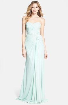 Free shipping and returns on ML Monique Lhuillier Bridesmaids Monique Lhuillier Bridesmaids Draped Chiffon Gown at Nordstrom.com. A minty hue refreshes this stunning strapless gown expertly gathered to an off-center twisted knot that releases the cascading skirt down to a pooling hemline.