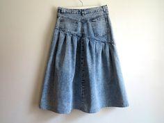 Acid Washed Denim Skirt Blue High Waisted Skirts от VintageOffer
