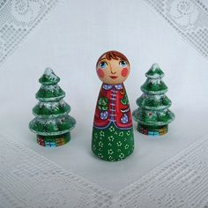 Merry Christmas trees colourful angel joy peace Noel gift present painted wooden green red white ornament decoration peg doll figurine toy on Etsy, $51.39