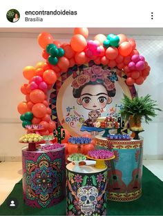 Mexican Birthday Parties, Mexican Party, Frida Kahlo Party Decoration, Frida Kahlo Birthday, Ideas Para Fiestas, Baby Party, Birthday Decorations, Girl Birthday, Party Themes