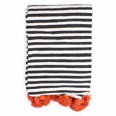 Orange Cotton Stripe Pom Pom Blanket | Bohemia | Wolf & Badger
