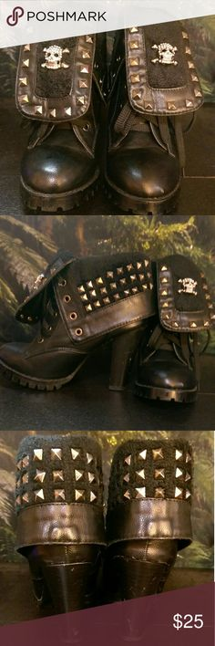 """Studded skull booties Arrr, you found the pirate's booty! Actually, you can remove the rhinestone skulls if you don't fancy them, but I thought they were a cool added bling. Awesome booties, size 38 fits a 7-7.5 best. Approx 4"""" heel, half inch platform. Excellent condition, just a few minor scuffs on the heel as pictured. Punk, Lolita, pirate, cosplay, Goth, rocker, biker chic. Shoes Ankle Boots & Booties"""