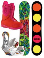 PRIMARY SHREDDER Womens Snowboard Collection- This primary color trend makes the grade, when mixed or worn monochromatic. Like a new box of crayons, these vibrant colors pop when you pop. Features Burton Social Snowboard, Burton Scribe EST Snowboard Binding in Wild Whited & Burton Ritual Snowboard Boot in Red/Pink. #snowboarding #shredonsisters