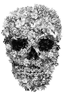 Illustration by Jacky Tsai - Floral skull design for Alexander McQueen.