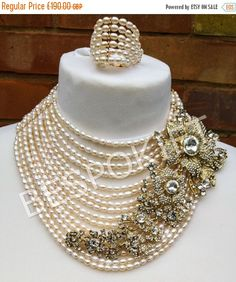 REDUCED PRICE Nigerian wedding Bridal pearl beads jewellery set  brooch necklace