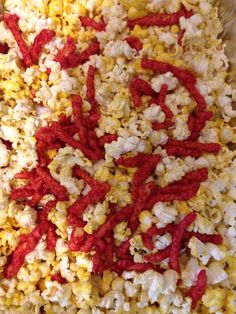 Popcorn and flaming hot Cheetos