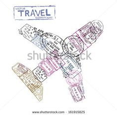 vector passport stamps in the form of a airplane - travel theme background - stock vector