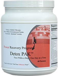 Over time, Toxins from pollution, food additives, and drug and alcohol abuse can accumulate in your body, disrupting normal brain chemistry and leading to cravings for drugs and alcohol. The Detox PAK can help to cleanse your body of toxins and return it to normal functioning.