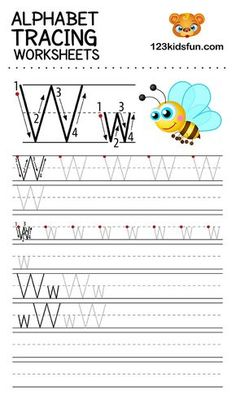 Alphabet Tracing Worksheets A-Z free Printable for Preschooler and Kindergartener. This Alphabet Tracing is a great activity for kids to practice letter recognition and handwriting skills. Printable letter W tracing worksheet. Free Printable Alphabet Worksheets, Handwriting Worksheets For Kids, Handwriting Practice Sheets, Alphabet Tracing Worksheets, Phonics Worksheets, Preschool Alphabet, Alphabet Crafts, Tracing Letters, School Worksheets