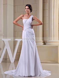 Pauleen - corte recto cola corte vestido de novia de gasa con plisado