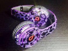 Beats by Dre Headphone Leopard Print -made w/ Swarovski Elements Custom Beats Seller We BEAT Any Deal! 1700 Sales On Etsy 5 Star Rating Purple Love, All Things Purple, Purple Rain, Shades Of Purple, Girly Things, Cute Headphones, Beats Headphones, Wireless Headphones, Crown Headphones