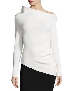 """Donna Karan structured crepe top. Approx. 22""""L down center back. Asymmetric half-shoulder neckline. Long sleeves. Fitted silhouette. Straight hem. Viscose/Elite polyester. Dry clean. Made in Italy."""