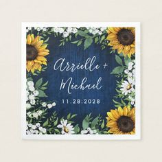 Navy Blue Sunflower Rustic Country Wedding Napkins - decor gifts diy home & living cyo giftidea Wedding Napkins, Fun Wedding Invitations, Rustic Invitations, Invites, Table Wedding, Daisy Wedding, Wedding Flowers, Dream Wedding, Yellow Wedding