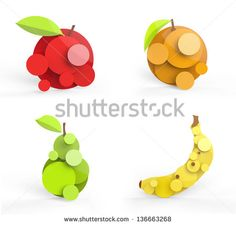 Four rendered fruits in vector-look. Can be used as is or for logo ...