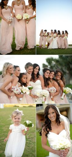 Style of these brides maids dresses in Grey or Navy; bride's dress is gorgeous too