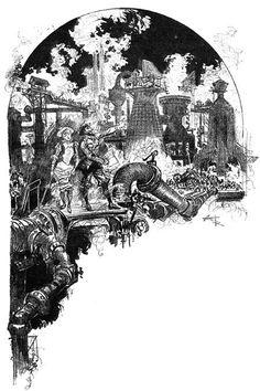 """Albert Robida, « Le voyage de noces de Philox Lorris », in : """"Le vingtième siècle : la vie électrique"""", Paris, La Librairie Illustrée, 1892"""