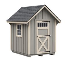 4x6 pine board and batten storage shed from Horizon Structures.  Perfect for small backyards!
