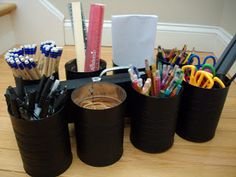 Old Cans To Caddy For: Craft Supplies, Kitchen Utensils, Planter, Beauty Supplies!!!
