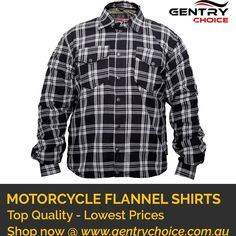 """✔️ Flannel Shirt Black & White Checked ✔️ Cotton - Reinforced with DuPont™ Kevlar® fiber ✔️ Top Quality - Lowest Prices - Fast Delivery 🌐 Shop Now @ """"Gentry Choice"""" Biker Shirts, Mens Flannel Shirt, Black Check Shirt, Motorbike Jackets, Smart Men, Fiber, Delivery, Men Casual"""