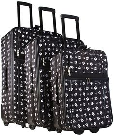 Black and White Pawprints 3 Piece Luggage Set -- Hurry! Check out this great item : Travel luggage