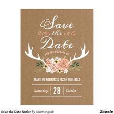 Save the Date Antler Postcard