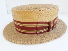 BROOKS BROTHERS antique vintage natural straw maroon ribbon boater hat 7 1/4 Hats For Sale, Hats For Men, Men's Hats, Caps Hats, Vintage Hat Boxes, Hat Storage, Hat Display, Boater Hat, Hat Stands