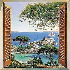 Blick aus dem fenster poster  Bild Fenster zum Meer, Leinwand | Murals | Pinterest | Leinwand ...