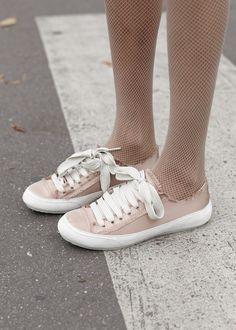 Erika Pelosini wearing Parson satin sneakers in pink