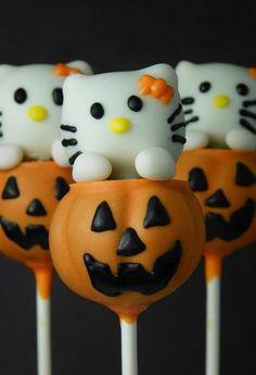 Hello Kitty Halloween cake pops.