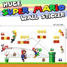 Huge Super Mario Wall Stickers Decals Removable Living Room Decor US Seller #2 | eBay