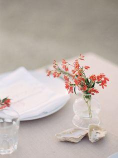 coral pink flowers Romantic Seaside Wedding Ideas
