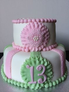 Ruffle flower cake pink and green
