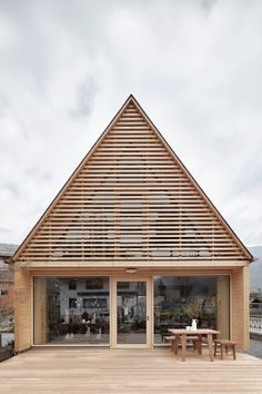 Image 3 of 23 from gallery of Gardening Shop Strubobuob / Innauer-Matt Architekten. Photograph by Innauer-Matt Architekten Roof Design, Exterior Design, Interior And Exterior, Exterior Stairs, Exterior Paint, Design Design, Shed Building Plans, Shed Plans, Wooden Architecture