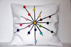 Items similar to tuliManna White Linen Pillow Cover With Colour Wheel Felt Balls Inch Pen Hand Drawing White Black Brown Green Blue Violet Pink Red on Etsy Linen Pillows, Decorative Pillows, Throw Pillows, Decor Pillows, Colorful Pillows, Felt Ball, Color Of Life, Pink Roses, Black And Brown