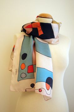 Hand Painted Silk Scarf.Silk Scarf.Hand Painted Silk Shawl.Wedding Gift.Miro style.55x18