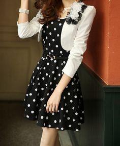 Casual Scoop Neck Polka Dot Waistband Twinset Plus Size Semi Formal Dress For Women (in Black) (DressLily.com)