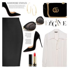 """""""What to wear: wardrobe staples"""" by jan31 ❤ liked on Polyvore featuring Roland Mouret, Plein Sud, Gucci, Christian Louboutin, Lana, Pumps, sunglasses, pencilskirts, WardrobeStaples and silkshirts"""