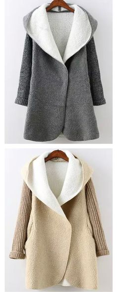 This sweater topcoat is super cozy and chic enough! Two colors will be supplied ,grey and beige are all very fashion. It features hooded neckline, fitting sleeves and two side pockets. Its Cashmere Blends material make it look so cute! And the zipper is enough long to be totally up to make you very warm and cute !