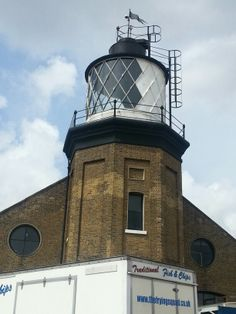 Trinty Buoy Wharf Lighthouse. Why not stand on the viewing platform and enjoy the views of London and the Thames.