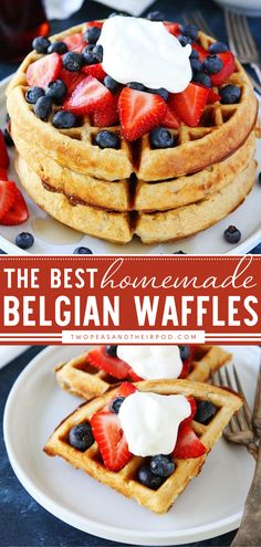 Learn how to make the best Belgian Waffles today! This Mother's day brunch food idea is crispy on the outside and soft and tender on the inside. Top the waffles with berries, whipped cream, and pure maple syrup for an extra special breakfast. Pin this yummy food for breakfast!
