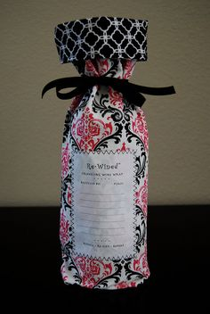 Re-Wined Traveling Wine Wrap, Wine Bag, Fabric Tote - Style F on Etsy, $12.00