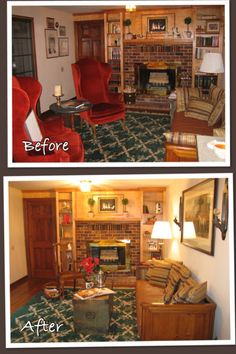 Although the two red chairs look lovely in this room, they were taking too much space since they were right in front of the French doors leading to the sunroom.